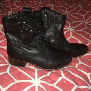 Frye Leather Brown Black Leather Booties 9